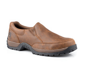 MENS PERFORMANCE LITE SOLE SLIP ON BROWN DISTRESSED LEATHER WITH REMOVEABLE INSOLE AND STIRRUP SHANK