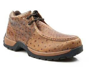 MENS PERFORMANCE LITE SOLE 2 EYELET CHUKKA ANKLE BOOT BROWN LEATHER EMBOSSED OSTRICH