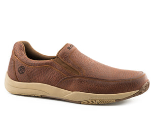 MENS SWIFTER SOLE SLIP ON TAN TUMBLED LEATHER