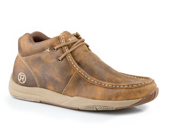 MENS SWIFTER SOLE CHUKKA TAN DISTRESSED LEATHER