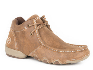 MENS DRIVING MOC CHUKKA VINTAGE TAN LEATHER 2 EYELET LACE UP