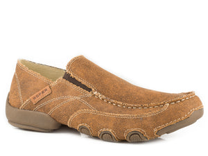 MENS DRIVING MOC BROWN VINTAGE FABRIC WITH FABRIC WRAPPED SOLE