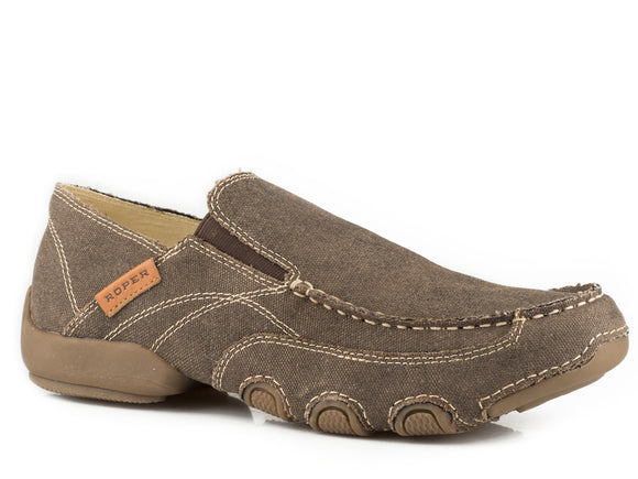 MENS DRIVING MOC CHOCOLATE BROWN VINTAGE FABRIC WITH FABRIC WRAPPED SOLE