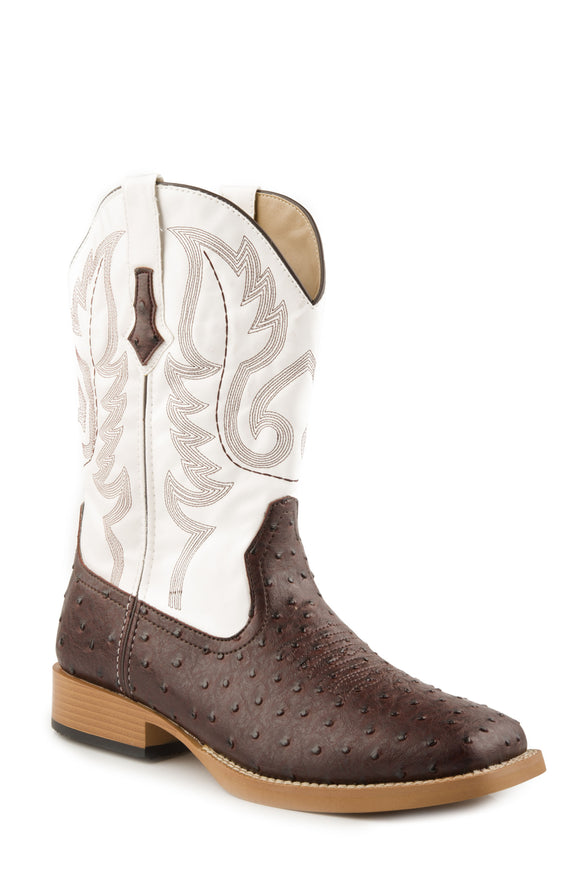 MENS COWBOY BOOT FAUX LEATHER BROWN OSTRICH VAMP WITH WHITE STITCHED UPPER