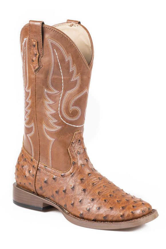 MENS COWBOY BOOT FAUX TAN OSTRICH LEATHER VAMP WITH TAN STITCHED UPPER