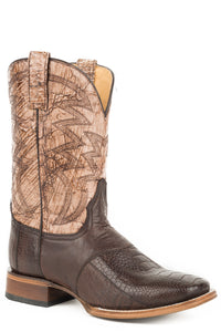 MENS EXOTIC LEATHER COWBOY BOOT WAXY BROWN OSTRICH LEG VAMP WITH VINTAGE BROWN LEATHER UPPER