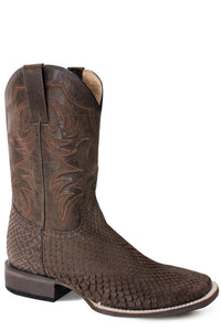 MENS EXOTIC LEATHER COWBOY BOOT NUBUCK BROWN PYTHON VAMP WITH WAXY BROWN GOAT STITCHED UPPER