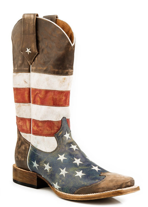 MENS LEATHER COWBOY BOOT AMERICAN FLAG DISTRESSED BROWN WITH RED WHITE AND BLUE SQUARE