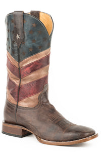 MENS LEATHER COWBOY BOOT AMERICAN FLAG BURNISHED BROWN WITH RED WHITE AND BLUE SQUARE