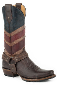 MENS LEATHER COWBOY BOOT VINTAGE AMERICAN FLAG UPPER WAXY BROWN VAMP WITH HARNESS AND LUG SOLE