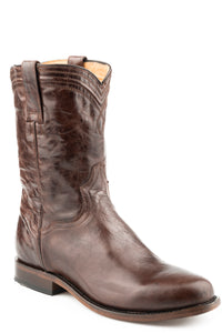 MENS LEATHER COWBOY BOOT MARBLED BROWN VAMP AND UPPER