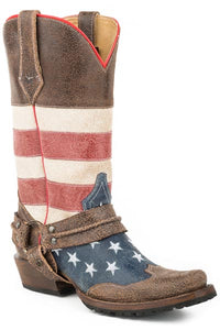 MENS LEATHER AMERICAN FLAG HARNESS BOOT UNIQUELY DISTRESSED LEATHER WITH LUG SOLE
