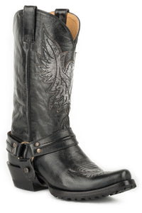 MENS LEATHER HARNESS BOOT ALL BLACK POLISHABLE WITH EAGLE OVERLAY ON UPPER AND LUG SOLE