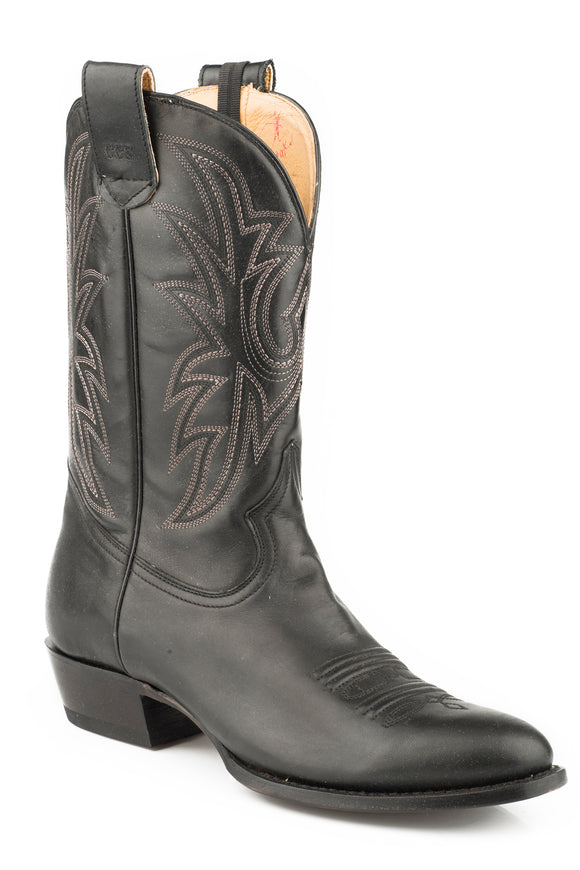 MENS LEATHER CONCEALED CARRY BOOT BLACK EMBROIDERED UPPER