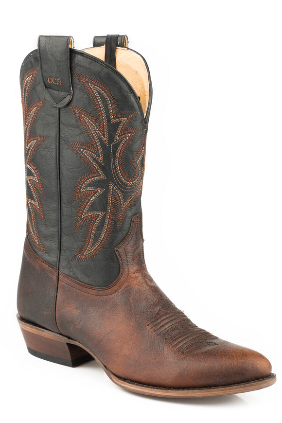 MENS LEATHER CONCEALED CARRY BOOT WAXY BROWN VAMP WITH BLACK EMBROIDERED UPPER
