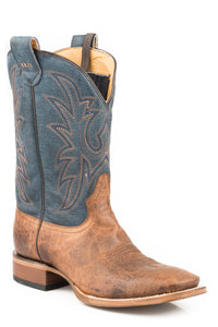 MENS LEATHER CONCEALED CARRY BOOT BURNISHED TAN VAMP WITH BLUE EMBROIDERED UPPER