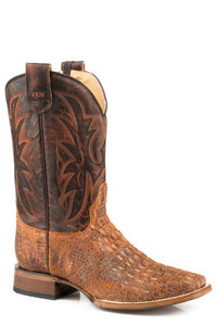 MENS LEATHER CONCEALED CARRY BOOT DISTRESSED COGNAC EMBOSSED CAIMAN VAMP WITH BURNISHED BROWN EMBROIDERED UPPER