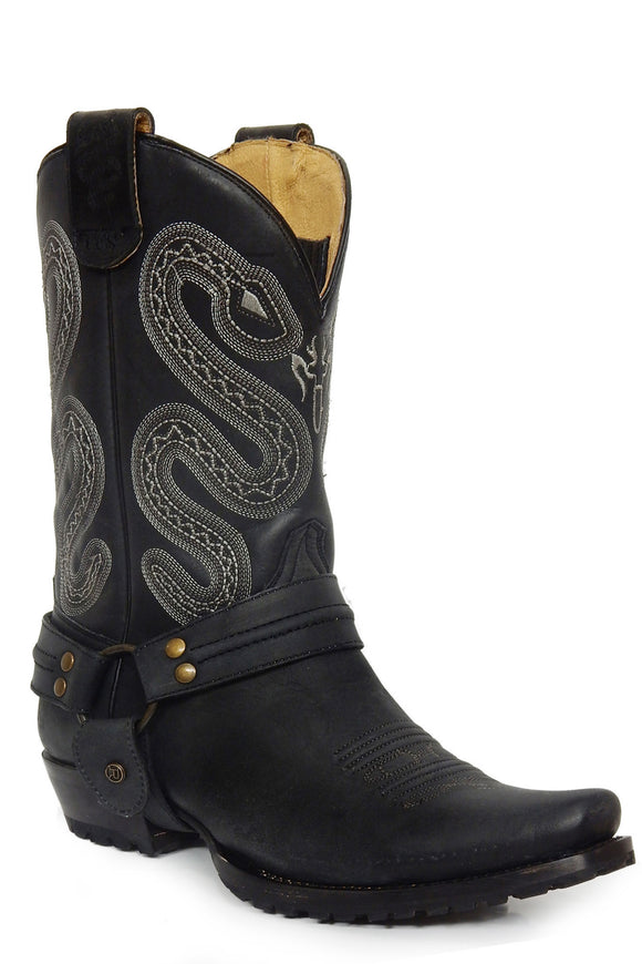 MENS LEATHER CONCEALED CARRY HARNESS BOOT ALL OVER MATTE BLACK WITH SIDEWINDER EMBROIDERED ON UPPER