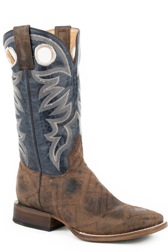 MENS LEATHER COWBOY BOOT VINTAGE BROWN STITCHED VAMP WITH MARBLED BLUE UPPER