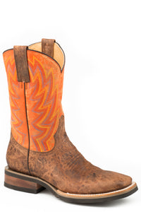 MENS LEATHER COWBOY BOOT VINTAGE BROWN VAMP WITH DISTRESSED ORANGE UPPER