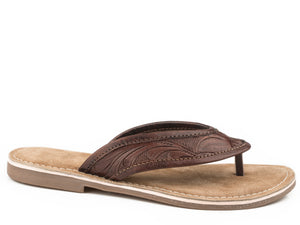 WOMENS BROWN HAND TOOLED LEATHER THONG SANDAL