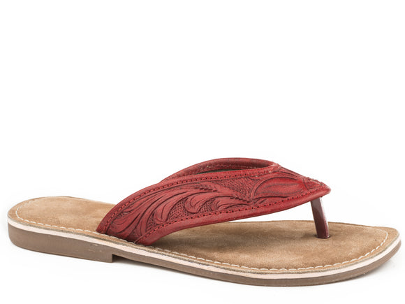 WOMENS RED HAND TOOLED LEATHER THONG SANDAL