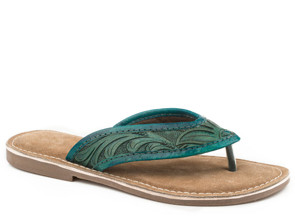 WOMENS GREEN HAND TOOLED LEATHER THONG SANDAL