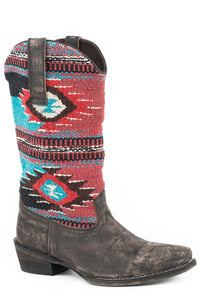 WOMENS COWBOY BOOT RUB OFF BROWN LEATHER VAMP WITH AZTEC BLANKET UPPER