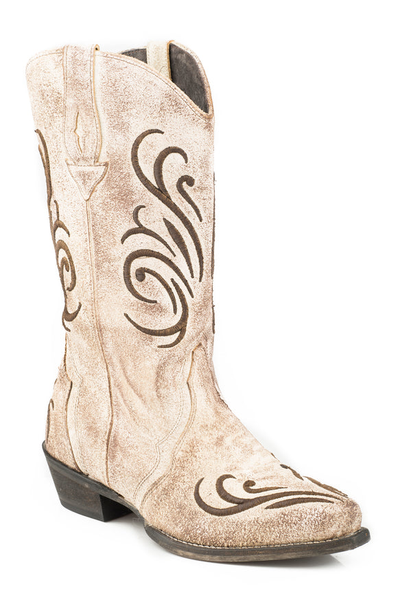 WOMENS COWBOY BOOT CR?ME WHITE ANTIQUE BRUSHED SUEDE LEATHER WITH RAISED EMBROIDERY