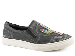 WOMENS ATHLETIC SLIP ON RUB OFF BLACK LEATHER AND APPLIQUE CACTUS ON VAMP