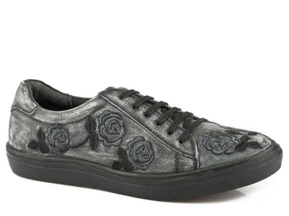 WOMENS ATHLETIC LACE UP BLACK SANDED VINTAGE LEATHER ROSE EMBROIDERY