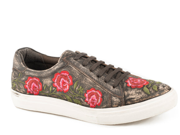 WOMENS ATHLETIC LACE UP BROWN SANDED VINTAGE LEATHER ROSE EMBROIDERY