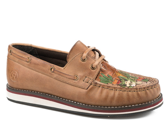 WOMENS LACE UP MOCCASIN BROWN BURNISHED LEATHER WITH PAINTED HANDTOOLED VAMP DESERT SCENE