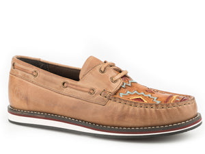 WOMENS LACE UP MOCCASIN TAN BURNISHED LEATHER WITH HANDTOOLED AZTEC VAMP