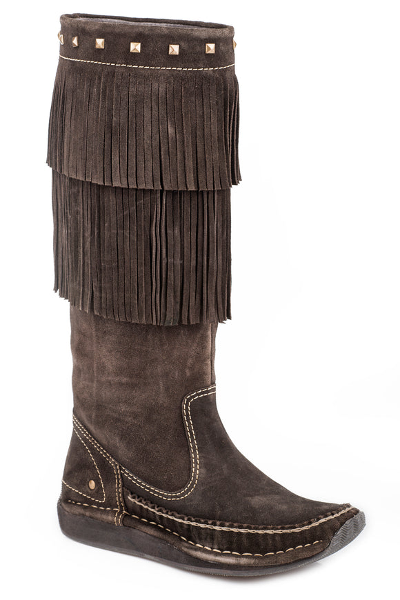 WOMENS HIGH TOP MOCCASIN BOOT BROWN SUEDE WITH FRINGED UPPER AND STUDS