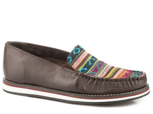 WOMENS SLIP ON MOCCASIN BROWN LEATHER WITH SERAPE VAMP
