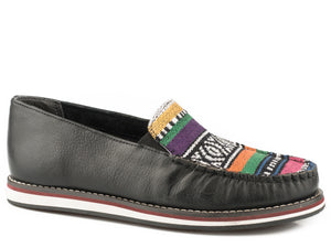 WOMENS SLIP ON MOCCASIN BLACK LEATHER WITH SERAPE VAMP