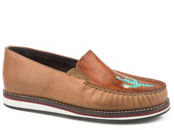 WOMENS SLIP ON MOCCASIN TAN BURNISHED LEATHER WITH HANDTOOLED CACTUS VAMP