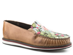 WOMENS SLIP ON MOCCASIN TAN BURNISHED LEATHER WITH CACTUS AND FLOWER DIGITAL PRINTED VAMP