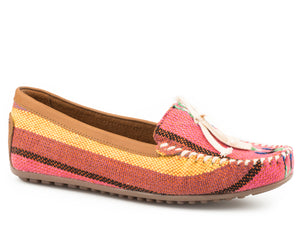 WOMENS DRIVING MOCCASIN PINK SERAPE FABRIC