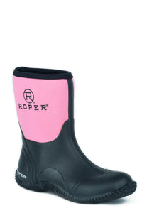 WOMENS BARN BOOT BLACK RUBBER BOTTOM WITH PINK NEOPRENE UPPER