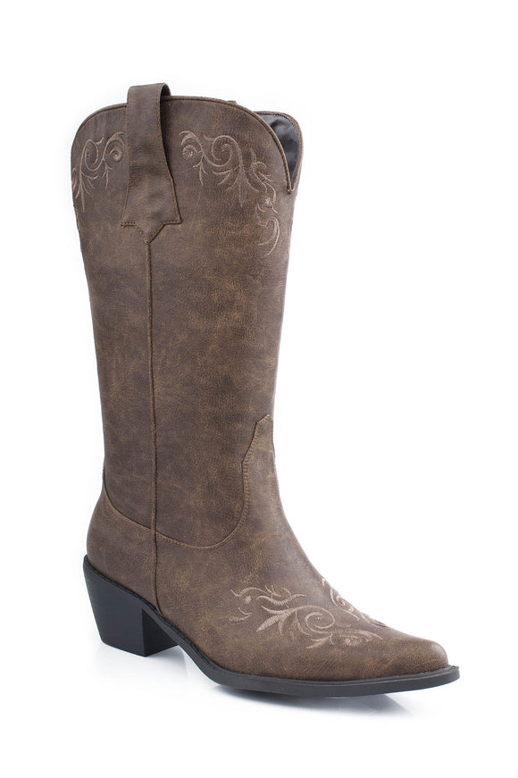 WOMENS FASHION COWBOY BOOT TAN ANTIQUED FAUX LEATHER WITH SCROLL EMBOIDERY