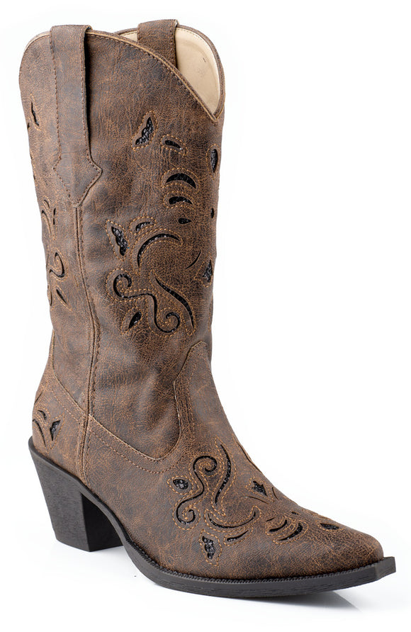 WOMENS FASHION COWBOY BOOT BROWN FAUX LEATHER WITH BLACK GLITTER UNDERLAY