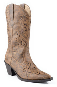 WOMENS FASHION COWBOY BOOT TAN FAUX LEATHER WITH GLITTER UNDERLAY