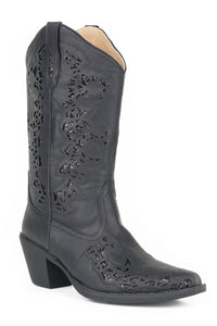WOMENS FASHION COWBOY BOOT VINTAGE BLACK FAUX LEATHER WITH GLITTER UNDERLAY