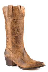 WOMENS FASHION COWBOY BOOT BURNISHED TAN FAUX LEATHER WITH ALL OVER EMBROIDERY