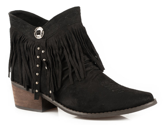 WOMENS FASHION SHORTY BOOT BLACK SUEDE FAUX LEATHER WITH FRINGE AND CONCHO STUDS