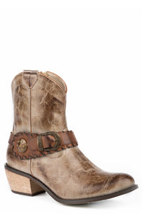 WOMENS FASHION SHORTY BOOT BURNISHED TAUPE FAUX LEATHER WITH ANTIQUE BRASS BUCKLE AND CONCHO