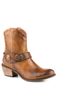WOMENS FASHION SHORTY BOOT BURNISHED BROWN FAUX LEATHER WITH ANTIQUE BRASS BUCKLE AND CONCHO