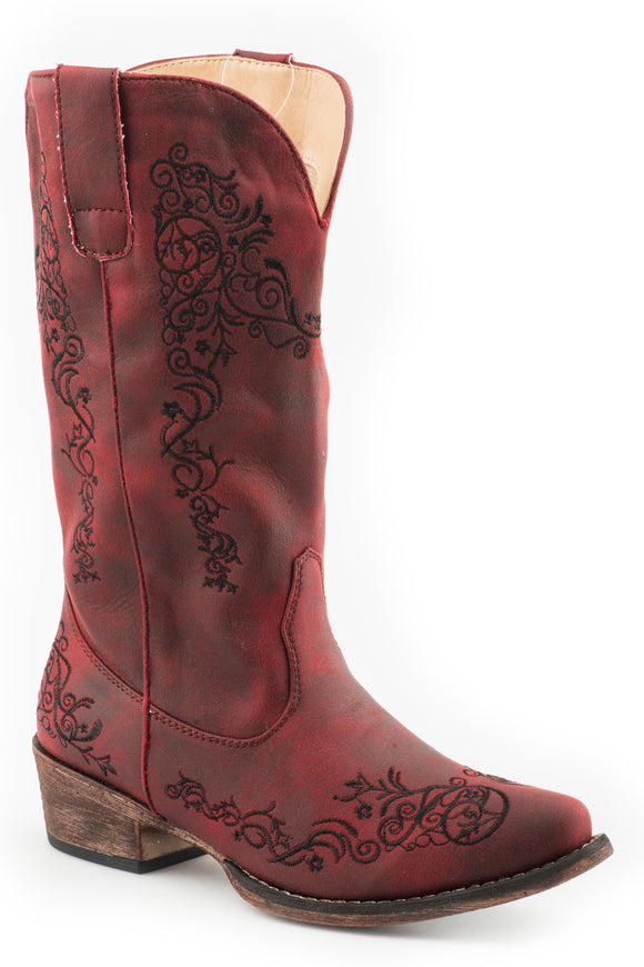 WOMENS FASHION COWBOY BOOT VINTAGE RED FAUX LEATHER AND ALL OVER EMBROIDERY